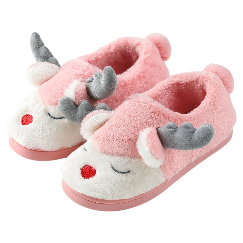 2019 winter children Christmas deer animal indoo plush slipper shoes