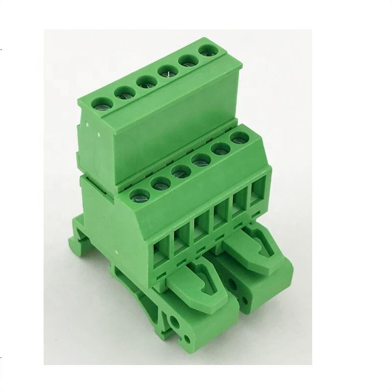 5.08mm pitch Pluggable wire to wire terminal block 35mm Din rail mounted type 10A XK2EDGUVK-5.08 male and female XK2EDGKA-5.08