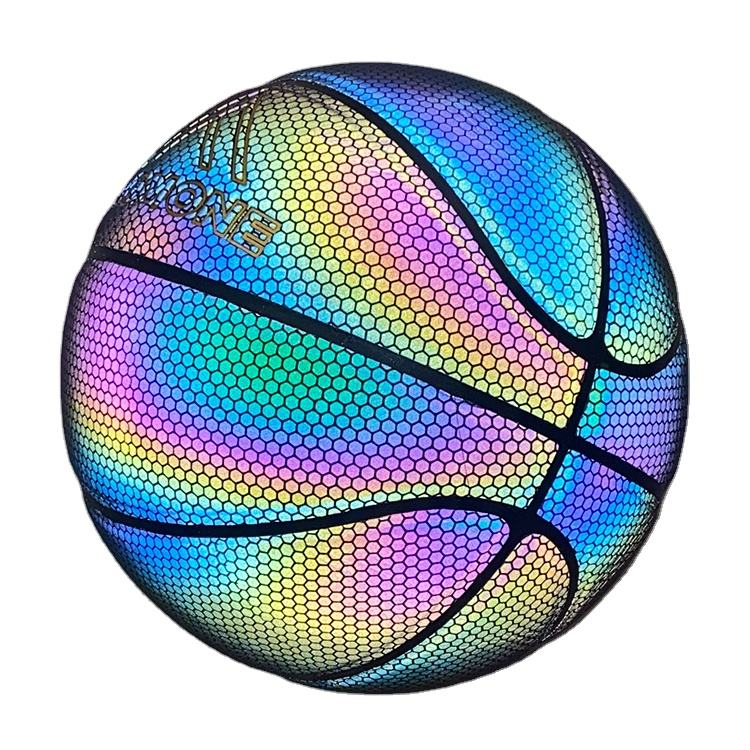 Holographic Glow Basketball In The Dark Composite Leather Customized Logo Reflective Basketball