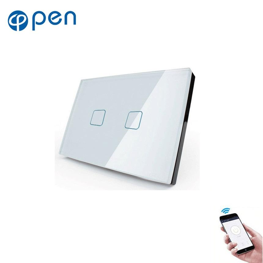 US Standard 2 Gang 1 Way Smart Home Tuya App/E-welink App remote Control Wifi smart wall Light Touch Switch