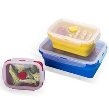 Microwavable -40 To 260 Degree Silicone Bento Lunch Box Set Food Storage Boxes&Bins