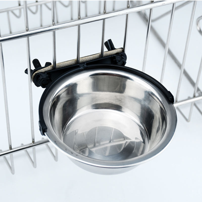 Hanging Pet Cage Bowl Stainless Steel Dog Bowl with Hanger pet dog suspended food bowl Hung on pet cage