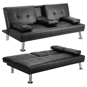 Classic Black Faux Leather Corner Folding Sofa Bed with 2 Cup Set Multipurpose Reclining Sleeper Couch