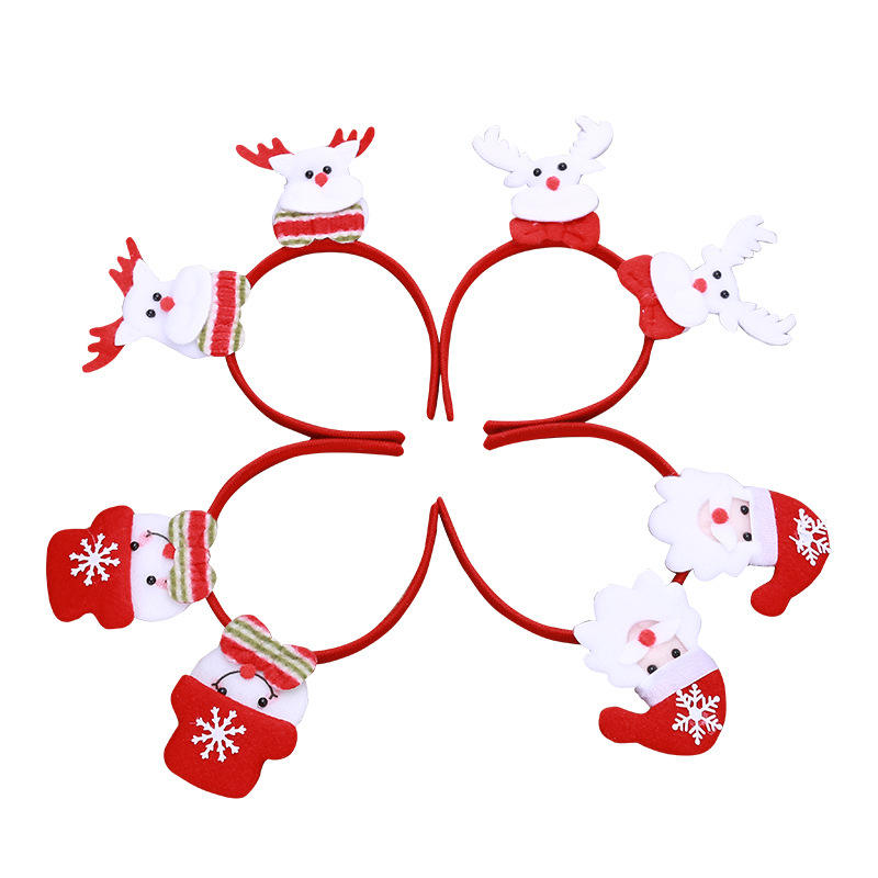 Christmas Gift Led Flashing Snow Man Deer Trees Reindeer Antler Christmas Headband for Party