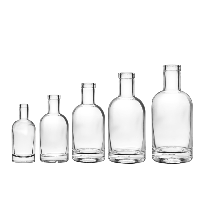 Wholesale 1000ml 750ml 500ml 375ml 200ml 100ml Vodka Spirit Glass Gin Bottle for Liquor with Cork