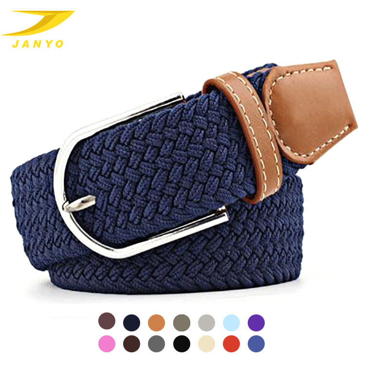 Amazon supplier wholesale factory price 15color unisex breathable fabric webbing braided stretch elastic belt