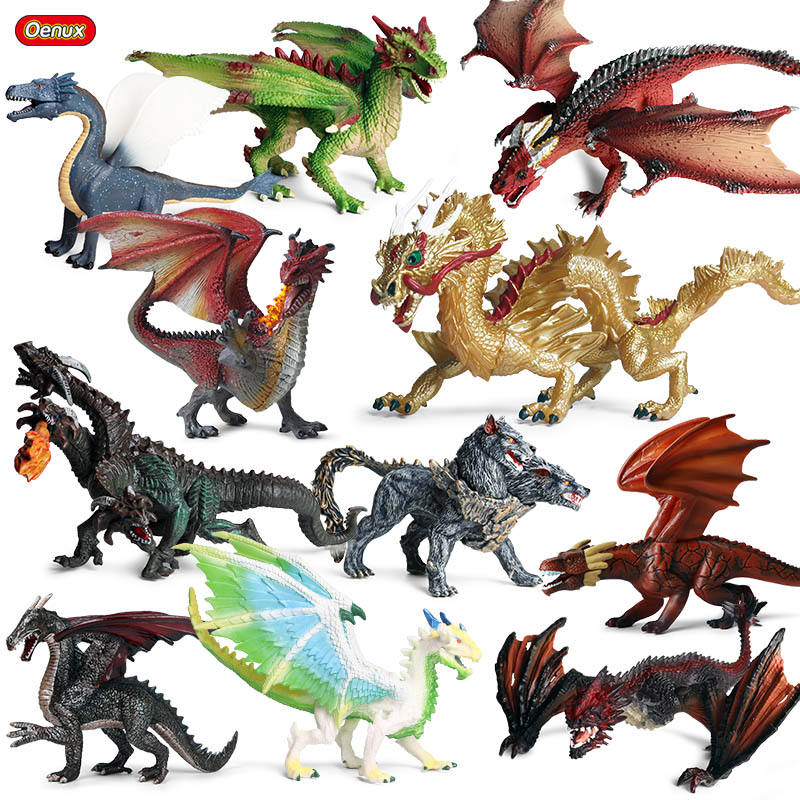 Oenux Wholesale PVC Animal Toys Action Figures Flying Magic Dragon Dinosaurs Chinese Dragon Model