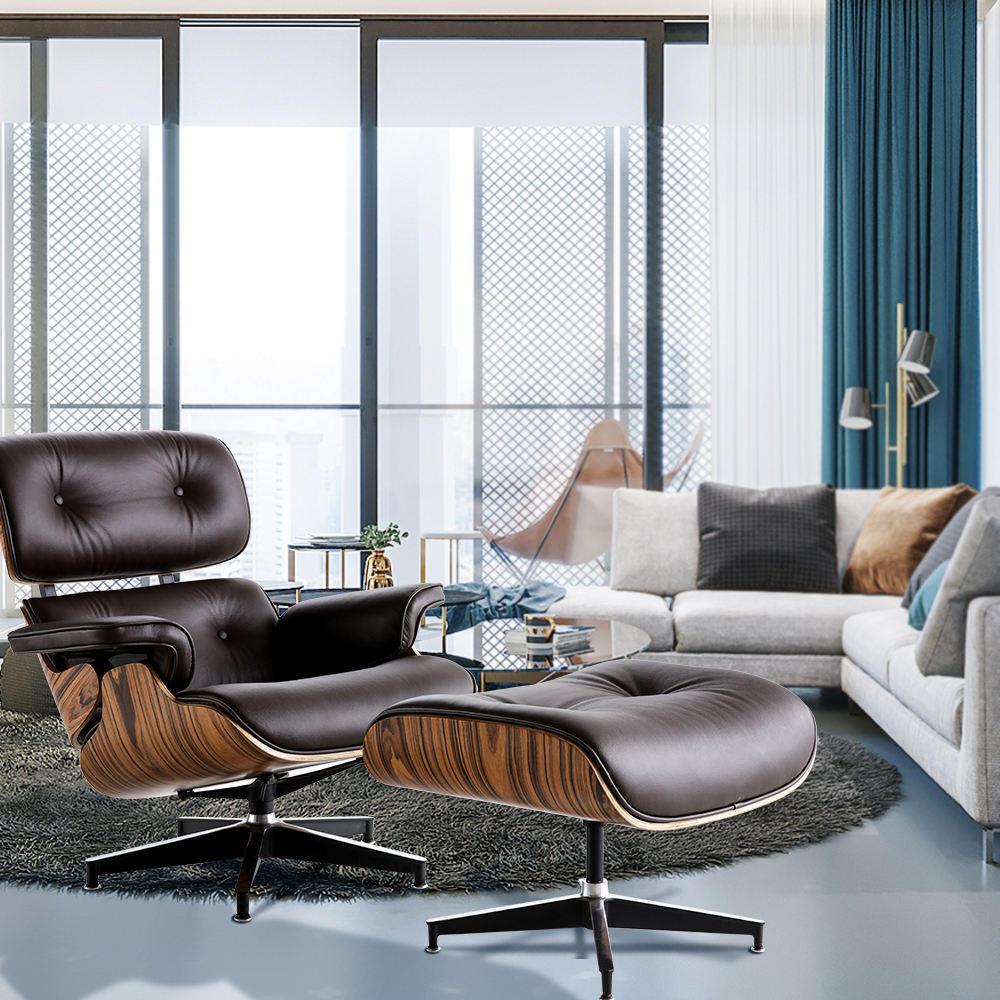 Leisure Real Leather Comfy Modern Classic Wood Charles Lounge Chair And Ottoman