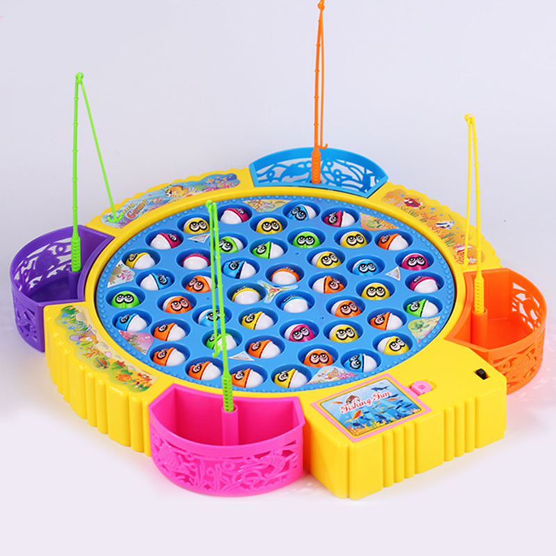 Customizable Kids Games Electric 45 Fishes Fishing Game for Baby Gift Fishing Toy with Music and Light for Kids