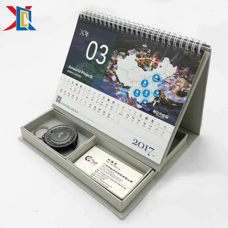 Paper Calendar Custom Office Art Paper Foldable Spiral Table Desk Tent Calendar with Storage Box