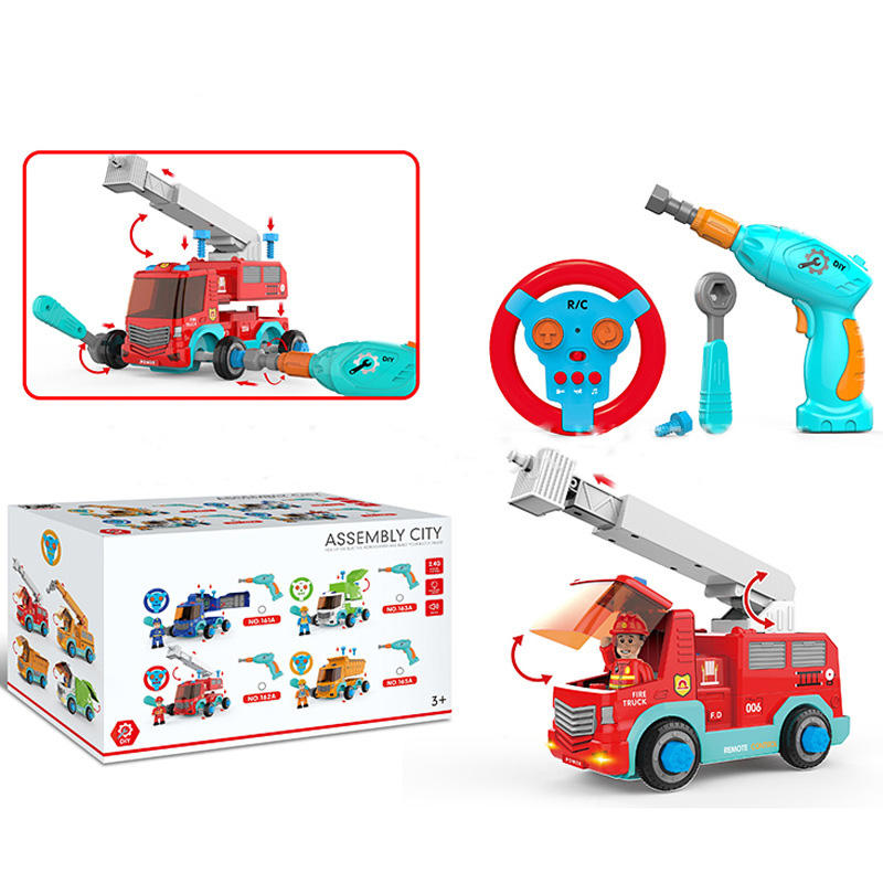 unique products to sell Fire Truck Toy Car diy car toy Music Light Educational Toys for kids