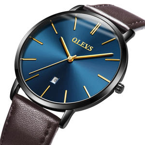 5869 OLEVS Brand New Business Fashion Sports Style Genuine Leather Watch Mens Leather Wrist Watch Custom Logo Quartz Watch