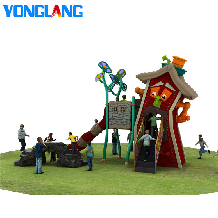 YL-W003 Latest Novel Design Children Toys Play House Outdoor Wood Playground Kids Outside Plastic Playground