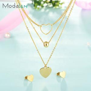 Modalen Stainless Steel Ladies Earrings Women Gold Plated Jewelry Necklace Set