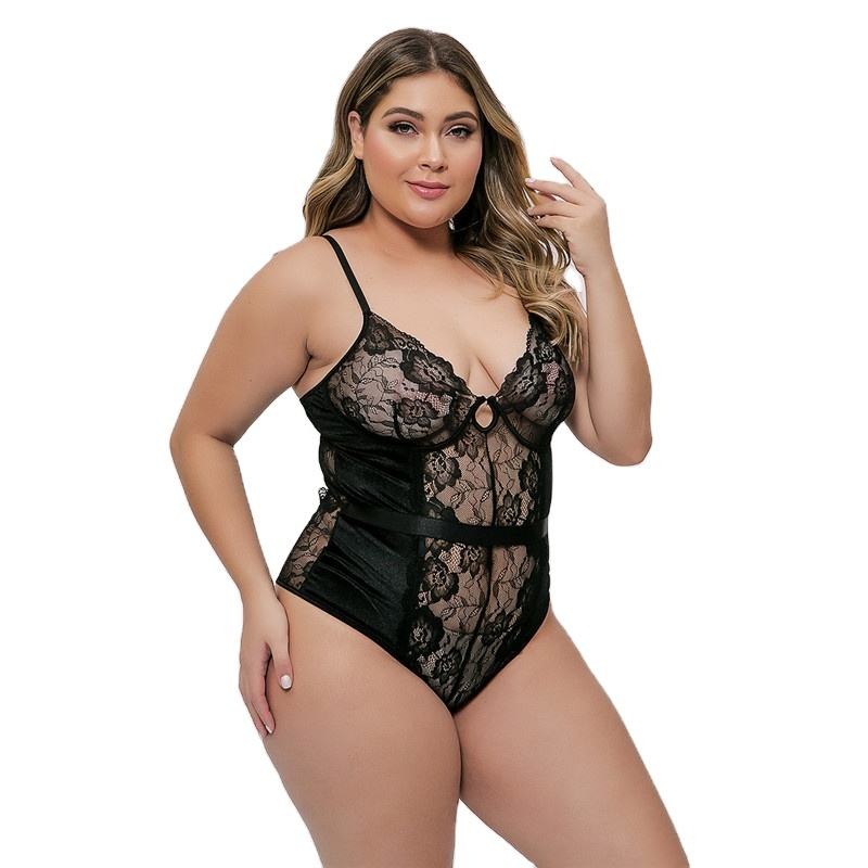 Women's Mesh Lingerie Fishnet Sleepwear V-Neck Babydoll plus Size Bodysuit Sports Lingerie