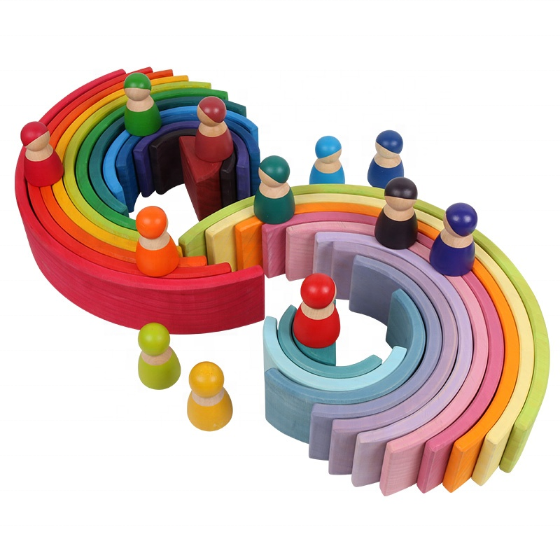 educational grimms natural wooden stacking toys large 12 pcs rainbow building blocks for kids