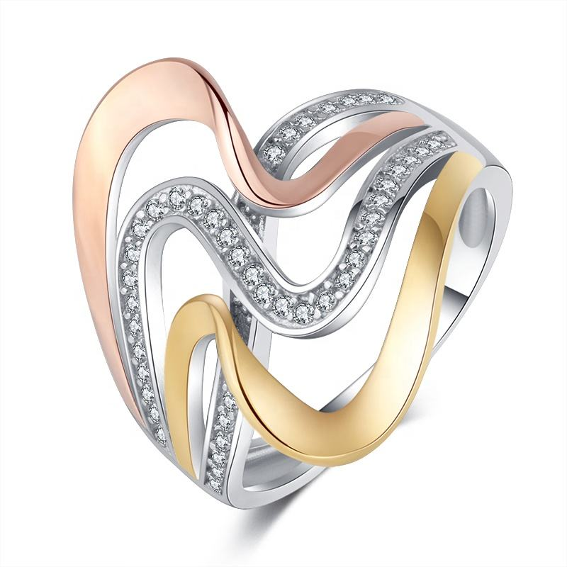 Fashion Jewelry Diamond Mixed Color Plating 925 Sterling Silver Rings