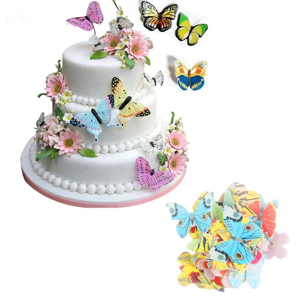 300pcs/box pcs Mixed Butterfly flowers Edible Glutinous Wafer Rice Paper Cake Cupcake Toppers Cake Decoration Birthday Wedding C