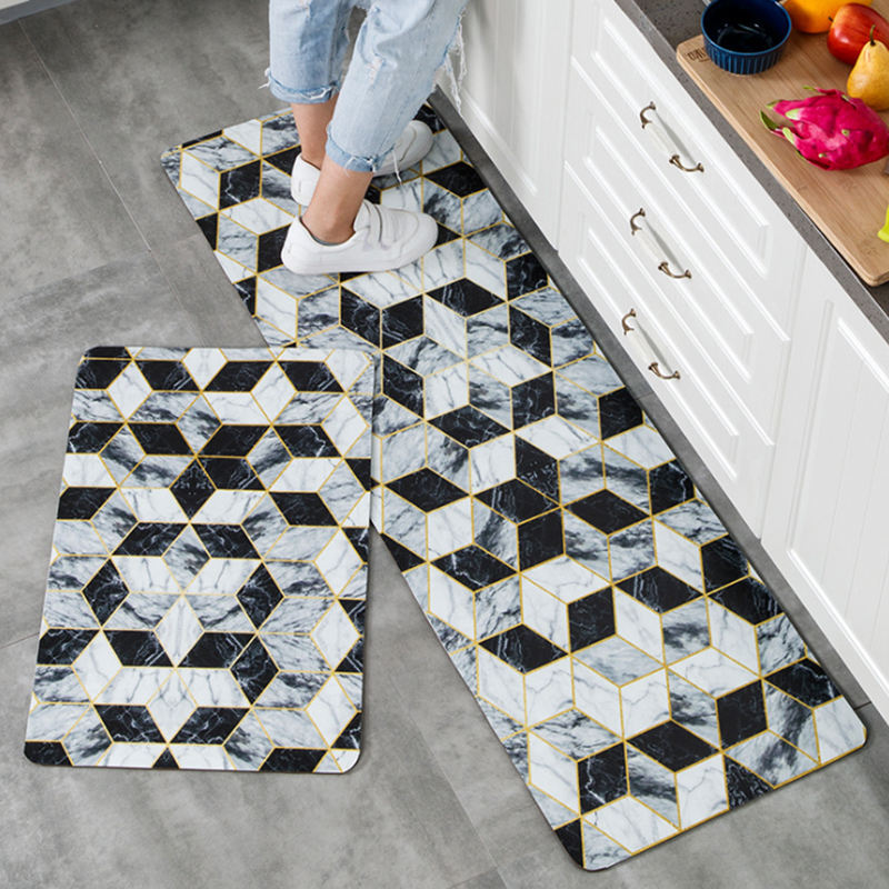 Anti Fatigue PVC Kitchen Rug Set 2 Pieces Non-slip Waterproof Kitchen Floor Mats