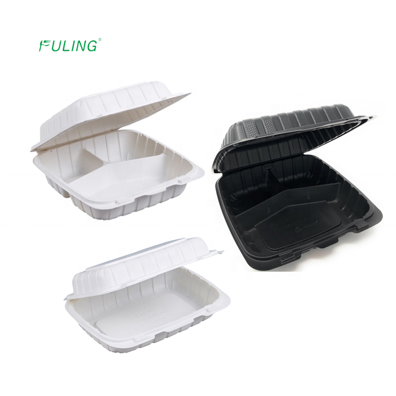 993 963 rectangle disposable hinged food clamshell plastic divided 3 compartments bento meal tray with lid