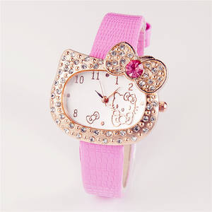 Partai Kustom Logo Hello Kitty Set Berlian Anak Watch OEM