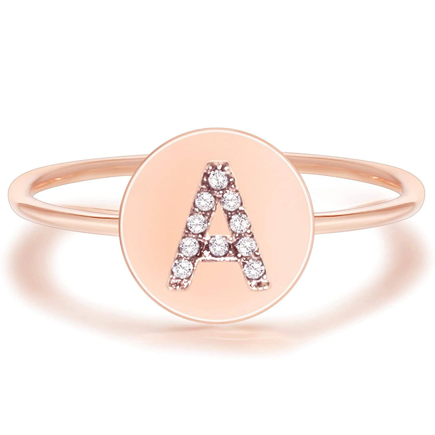 Stainless Steel Ring Wholesale 26 Alphabet Jewelry Heart Rose Gold Plated Custom Cuff Stacking Stacking Stainless Steel Initial Letter Ring Women