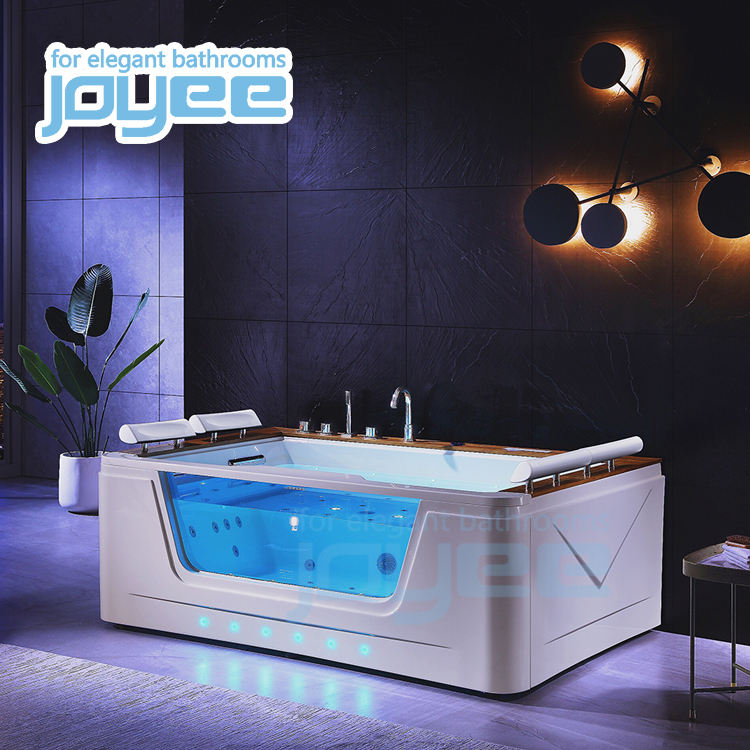 JOYEE hot tub/spa/whirlpool jacuzzi bath tub apollo massage glass teak wood soaking bathtub with air bubble jet