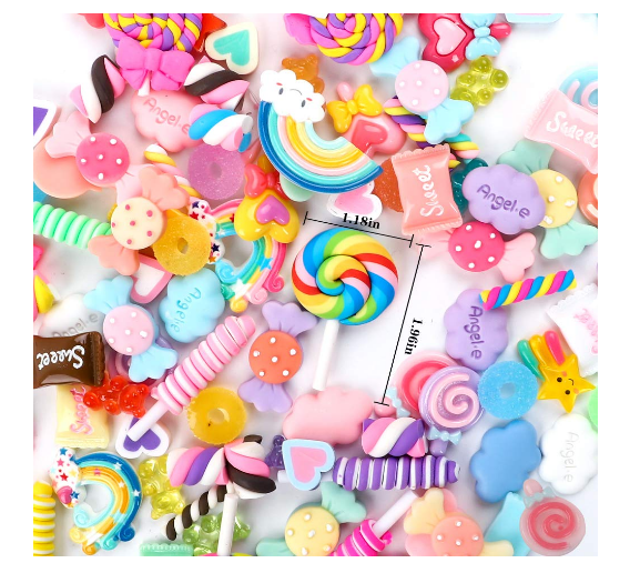 Slime Charms Cute Set Mixed Assorted Candy Sweets Beads Making Supplies for DIY Craft Making and Ornament Slime Charms