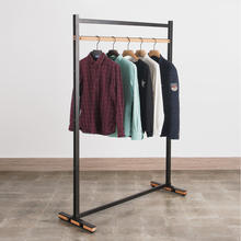 Clothing Boutique Furniture Metal and Wood Free Standing Clothes Hanging Rail Stand Apparel Display Cloth Rack