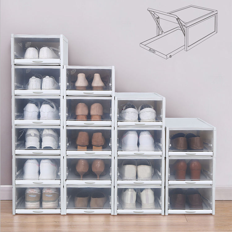 JJMG Stackable Shoe Box Drawer Type Design Set of 3 Push-Pull Transparent Shoe Container Home Organizer Clear Plastic Shoe Storage for Men and Women