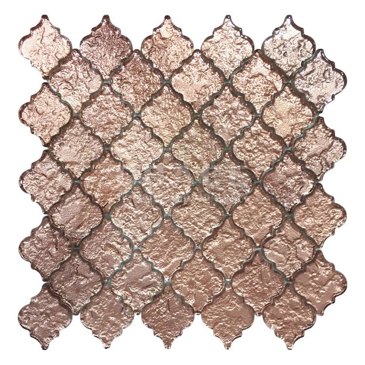 3D Glass Crystal Wavy Pattern Mosaic Rose Gold Foil Wall Moulding Floral Decal Tile