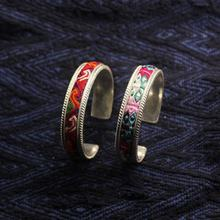 Ethnic style jewelry crafts intangible cultural heritage handmade custom miao silver vintage bracelet bangles embroidered pieces