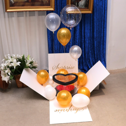 Creative Explosion Box Flying Balloon Gift Surprise Box for Valentine's Day Birthday