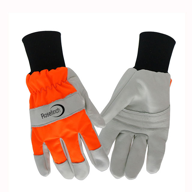 Power Saw Anti-Cut Work Glove EN388 Oil Field Working Water-repellent Sheep Leather Gloves