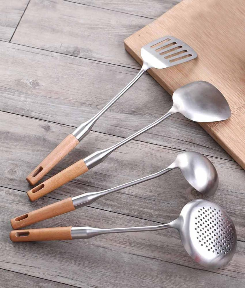 304 Stainless Steel Kitchen Set Utensil (spatula, colander ladle, frying spade, soup scoop) Kitchenware