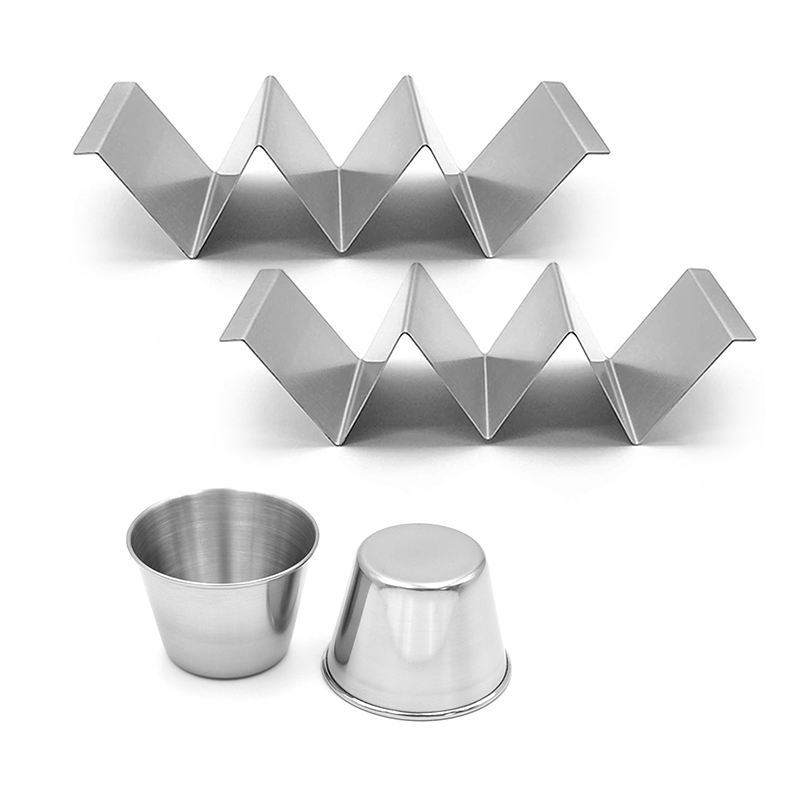 4pcs stainless steel sauce cups and taco stand set with restaurant