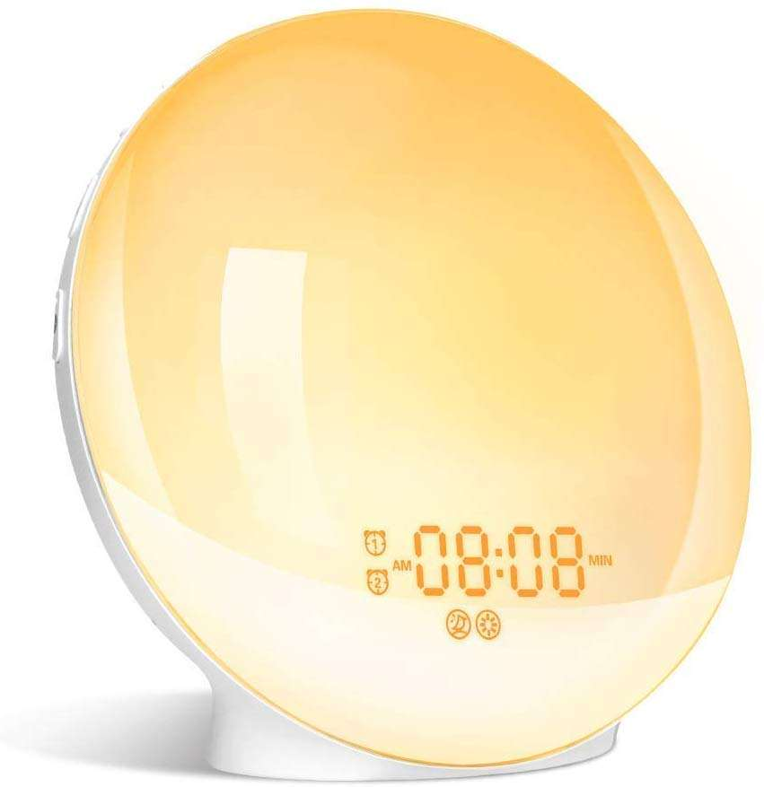 Hot selling Wake Up Light Alarm Clock with Sunrise Sunset Simulation Dual Alarms Snooze Radio 7 Natural Sound USB Charging port