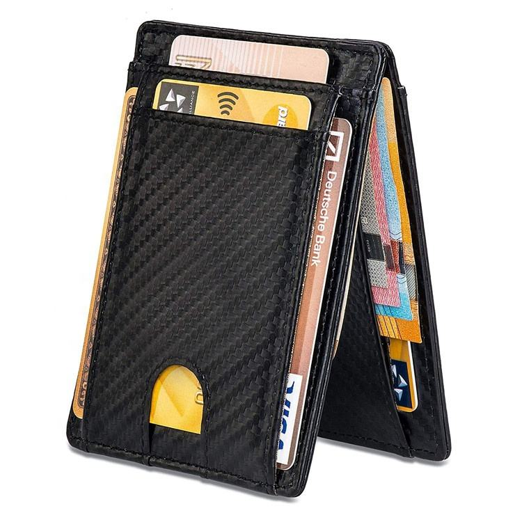 Custom hot sale slim billfold leather wallet front pocket money clip rfid mens carbon fiber wallet for men