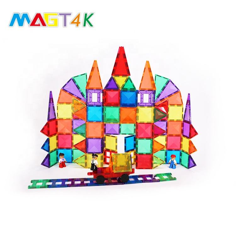Kids magnetic building blocks toys diy magnetic connect toy 120pcs magnet building tiles