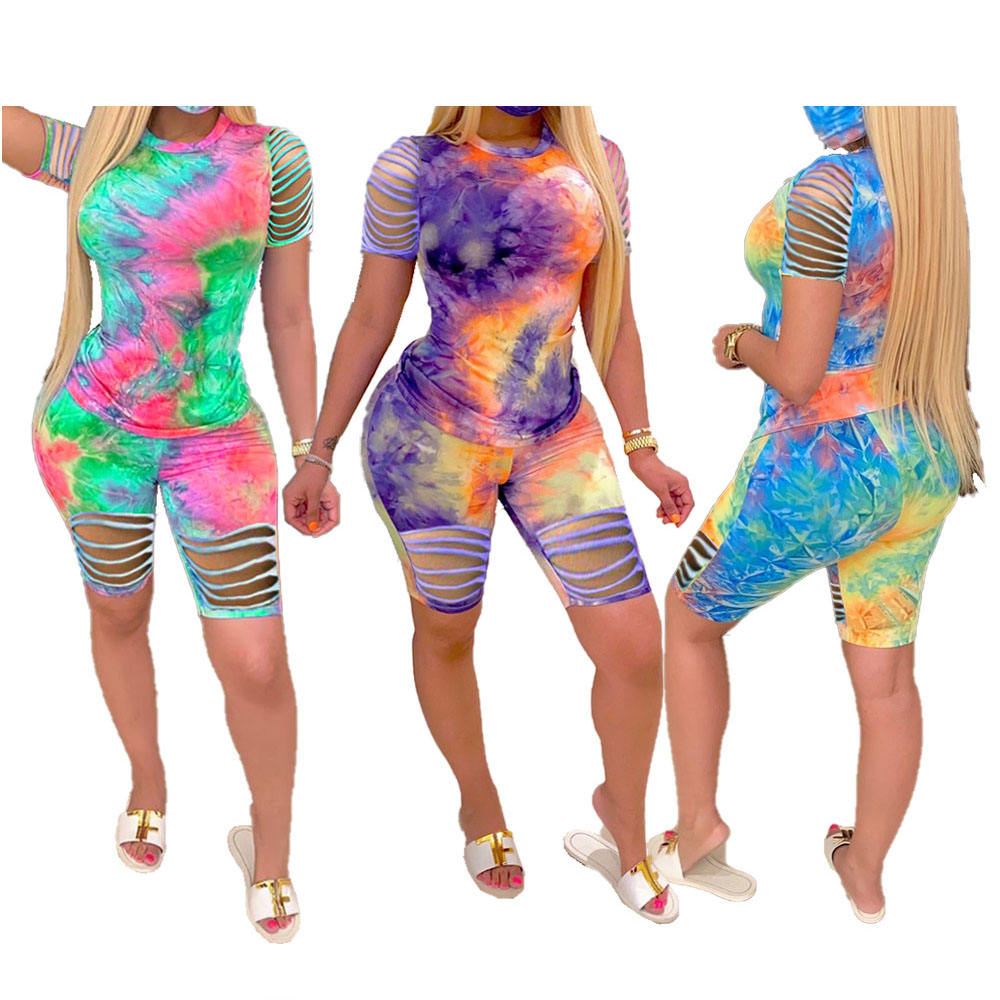 W0697 Tie Dyed Summer Outfits Pink Green Blue Two Piece Set Women Tracksuit Shirt Biker Shorts Set Sports Matching Sets