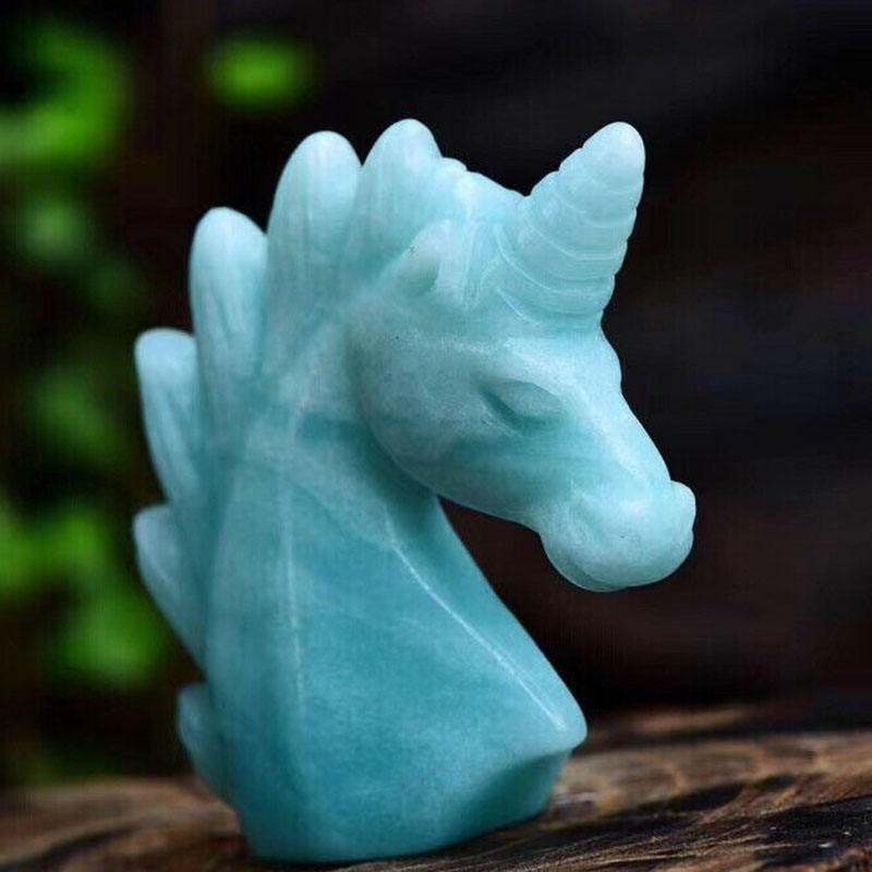 Wholesale 2inch Natural Amazonite Unicorn Quartz Crystal Skulls gemstone Reiki Healing