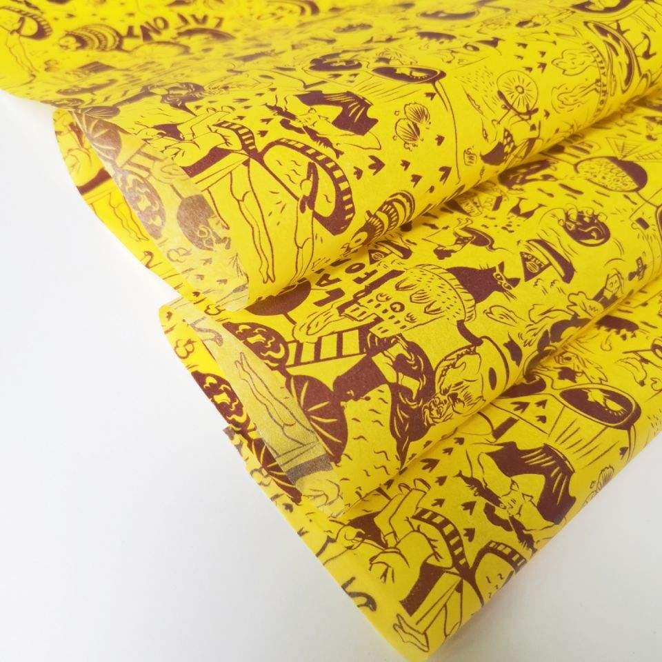 yellow tissue wrapping paper with custom logo packaging for clothing good quality gift printed paper