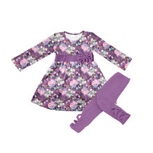baby girls long sleeve outfits boutique girls' sets cute girls clothes purple color kids outfit