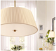 Modern European creative LED chandelier lampshade restaurant living room simple crease fabric lampshade pendant lamp