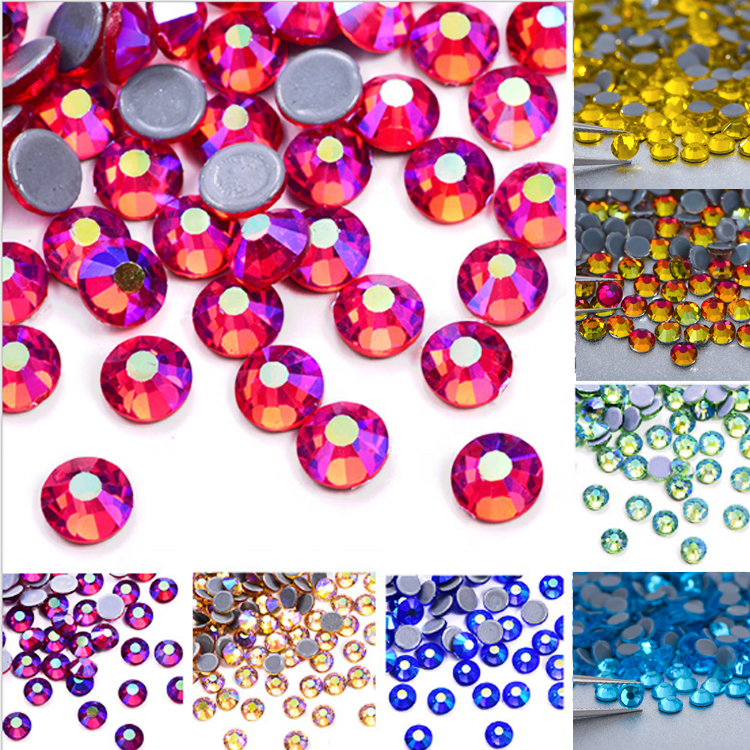 Loose round ss6 ss8 ss3-ss34 flat back glass stone dmc hotfix bling crystal rhinestone for transfers shirts facemask