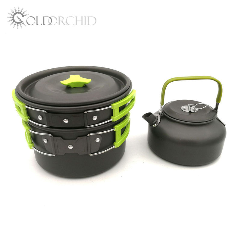 Portable hiking and camping 2-3 person 3 piece cookwear set with teapot