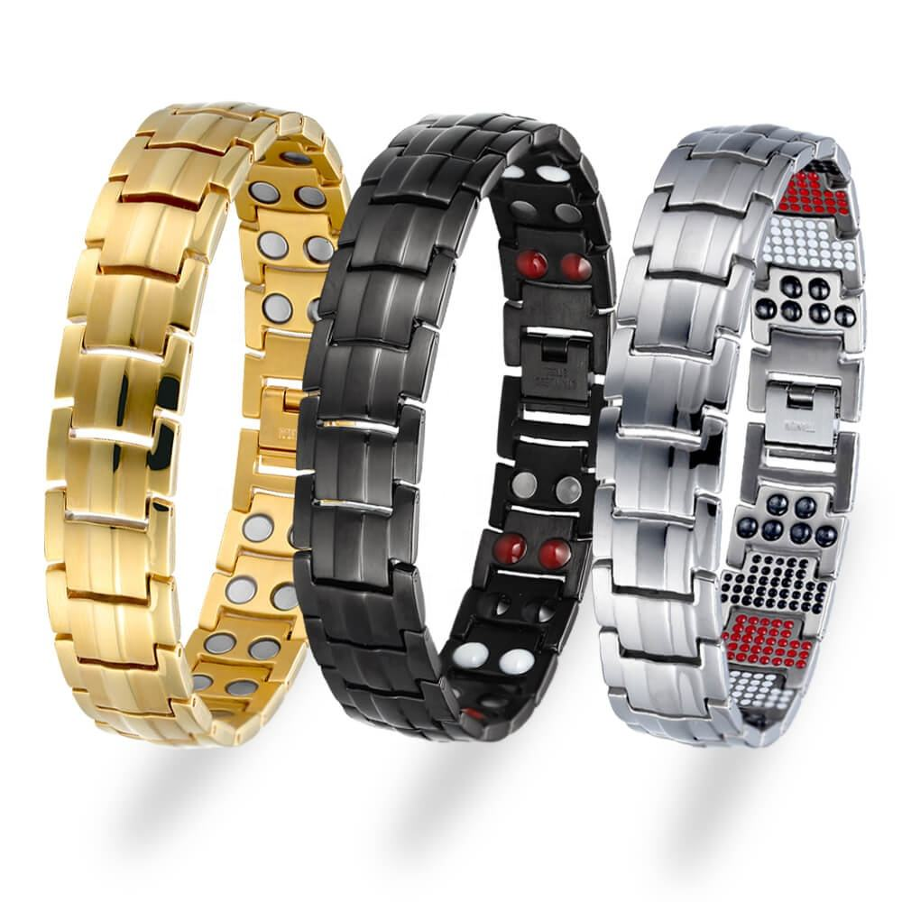 Luxury Gold Plated Bracelet Homme Wholesale Germanium Magnetic Ion Energy Pure Titanium Jewelry Men Bracelets