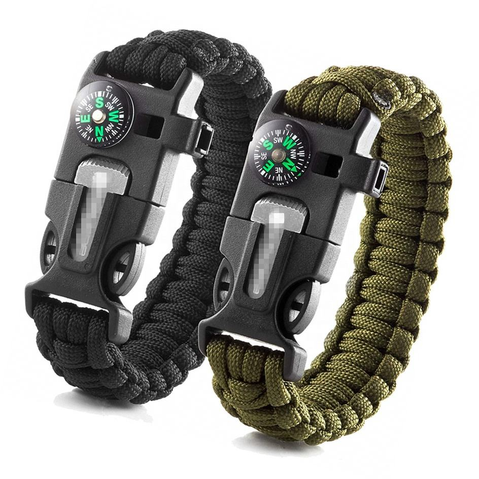 Wholesale Paracord Bracelet Camping Gear Knife 550 Paracord Survival Bracelet Fire Starter Buckle