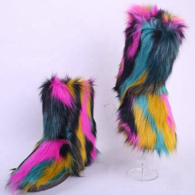 New Style Plush Artificial Fur Fox Fur Lady Boots High-top Warm And Comfortable And Durable Boots For Ladies