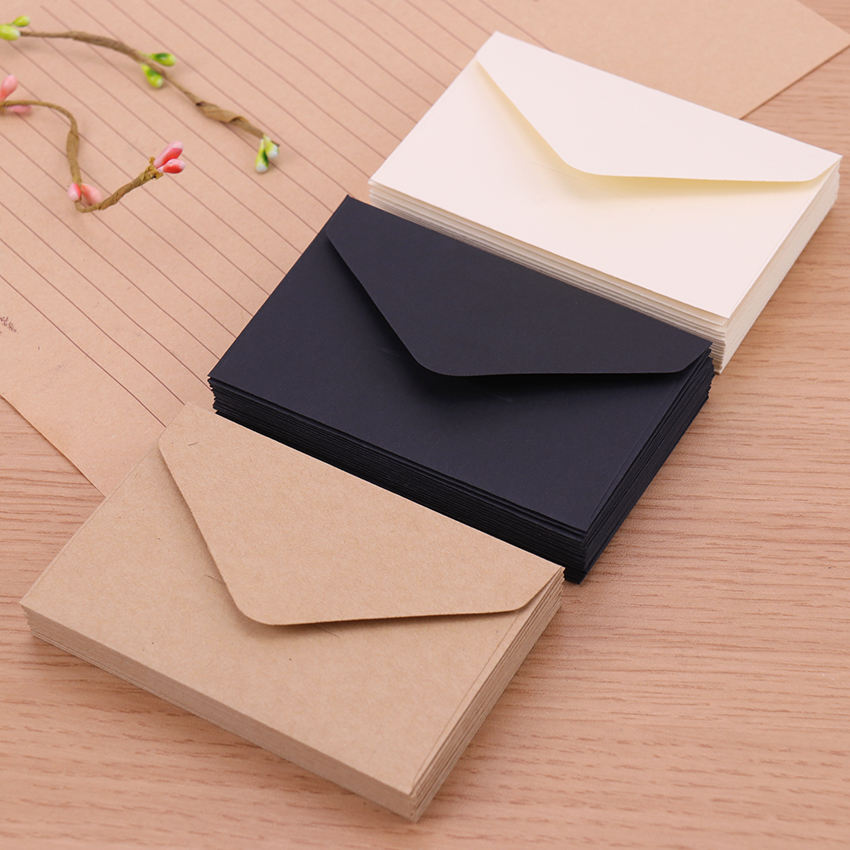 Classical White Black Kraft Blank Mini Paper Window Envelopes Wedding Invitation Envelope Gift Envelope